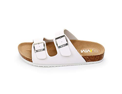 4b3a13797bfa WTW Women s Arizona Flat 2 Strap Cork Sandals Soft Suede Footbed Slides (US  10