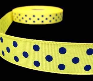- 5 Yd Michigan Colors Yellow Blue Polka Dot Polkadot Grosgrain Ribbon 1