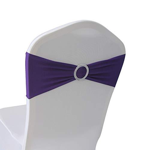 Purple Spandex Chair Bands Sashes - 12 pcs Wedding Banquet Party Event Decoration Chair Bows Ties (Purple, 12)