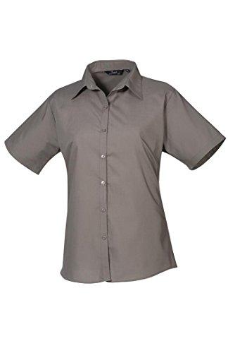 sombre Blouse Short gris Poplin Sleeve Ladies Workwear Femme Premier wBq16p7