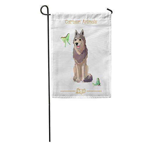 (Semtomn Garden Flag Pic Series Cartoon Animals Amusing Wolf and Butterflies Clip Without Home Yard House Decor Barnner Outdoor Stand 12x18 Inches Flag)