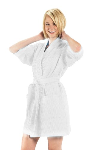 (Cotton Waffle Womens Robe, One Size, White Color)