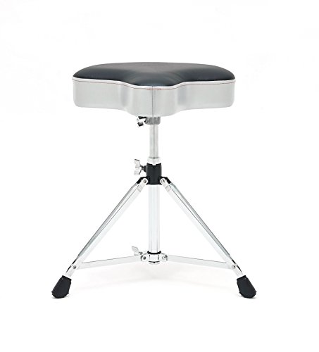 Braced Double Base (Gibraltar 6608MSG Double Braced Throne Base Moto Seat, Satin Grey Silver Finish)