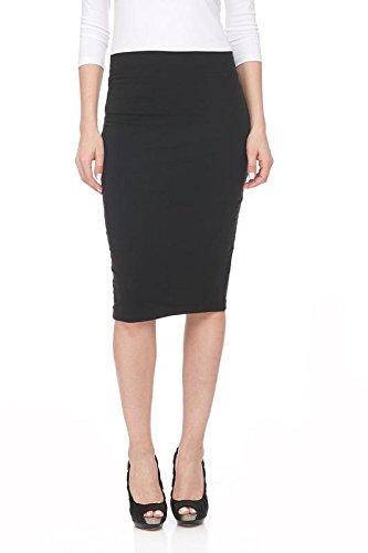 Esteez Pencil Skirt for Women Knee Length Opaque and Modest BLACK Large