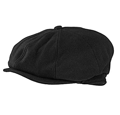 7975ea2dbb89 Mens Flat Cap Black Felt Bakerboy Newsboy Peaky Blinder Hat Style Gatsby  (57cm (Small