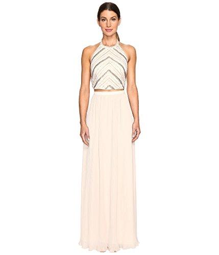 Beaded Georgette Top - Aidan by Aidan Mattox Women's Hand Beaded Crop Top Dress, Champagne, 4