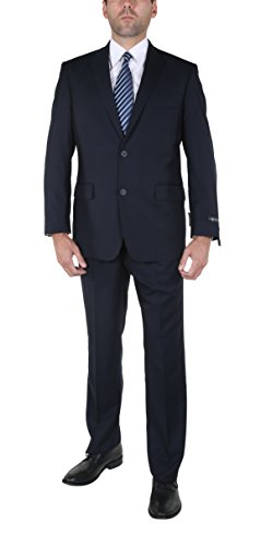 P&L Men's Two-Piece Classic Fit Office 2 Button Suit Jacket & Pleated Pants Set, Navy, 36 Short / 30 Waist -