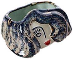 灰皿 , クリエイティブセラミック灰皿ホームデコレーション灰皿青と白の手描き (サイズ : 16*13*9cm)