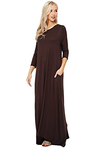 Annabelle Women's Solid Scoop Neck Side Pocket Full Length Maxi Dress Brown Java Large D5212