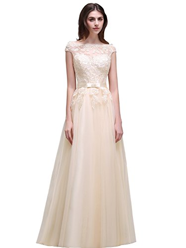Babyonlinedress Babyonline Womens Bateau Neck Tulle Appliques Long Evening Gowns Prom Dresses