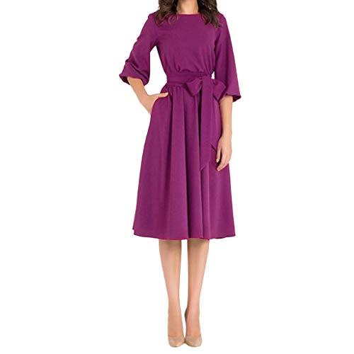 Keliay Bargain Women Fashion Solid Long Sleeve Deep Round Neck Belt Dress