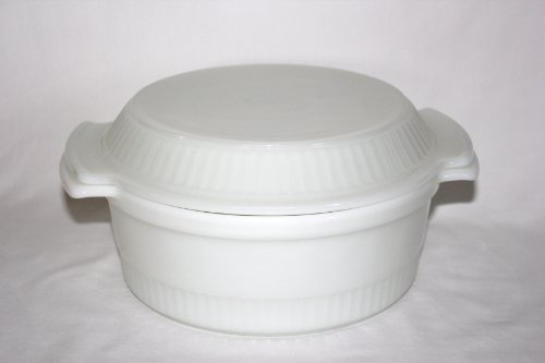 Vintage Fire-King Anchor Hocking Milk Glass 2 Qt Casserole w/ 9 inch Pie Plate Lid - 2 piece set ()