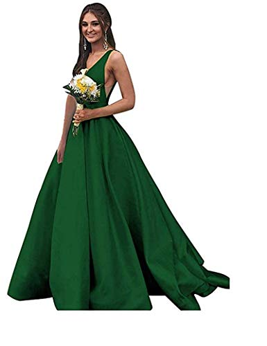 (Rjer Women Long Double V Neck Sleeveless Prom Dress 2019 Satin Ball Gown)