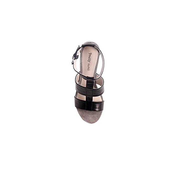 Scarpe E Borse Da Donna Sandali Pretty Nana Zeppa Rivestita In Camoscio sandalo Pelle Nero 280420