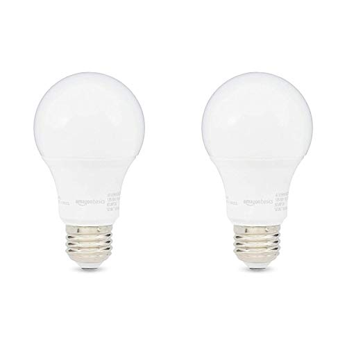 AmazonBasics 60W Equivalent, Daylight, Dimmable, 10,000 Hour Lifetime, A19 LED Light Bulb | 2-Pack