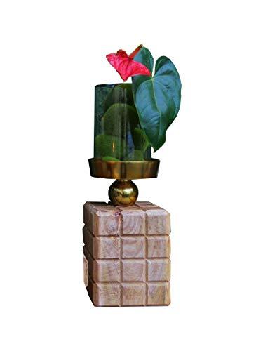 Castiçal De Madeira Com Vidro Quadrado Sarquis Samara Madeira/prata