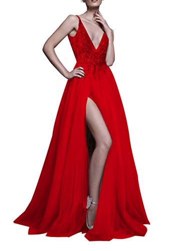 (Prom Dresses Deep V Neck Sequins Tulle and Lace Sex High Split Long Evening Dresses)
