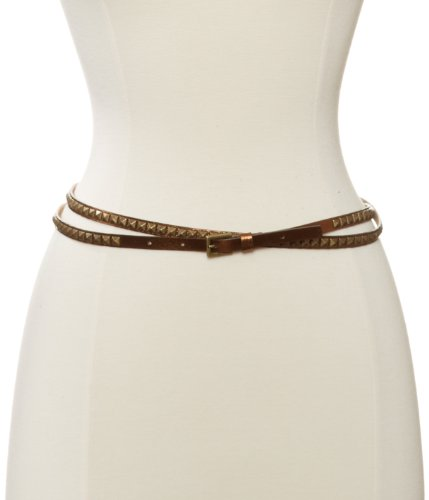 Streets Ahead Women's Metalic Bronze Double Wrap Skinny Studded Belt, Bronze, X-Large - Skinny Pyramid Belt