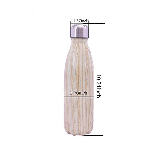 Stainless Steel Sport Insulated Water Bottle Wood Grain Unicorn Letter Bowling Shaped Drinkware Coke Bottle 500ML,17oz(Wood Grain) by WJYX (Image #5)