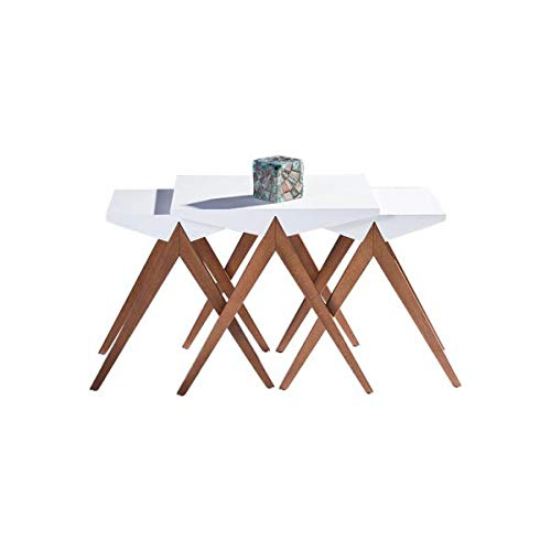 DiscountWorld Modern, Lightweight, Stackable Set of 3 Wallnut White Triangular Nesting Table - Triangular Nesting Tables