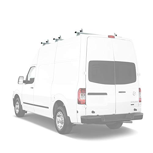 AA-Racks Model AX312-NV Compatible Nissan NV 2012-On Aluminum 3 Bar Van Roof Rack System w/ Ladder Stopper White