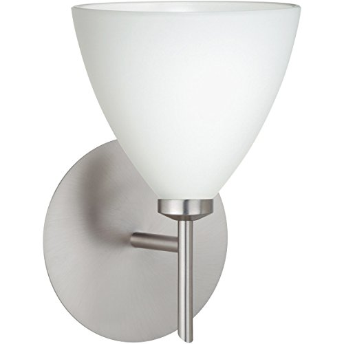 Mia Interior-Only 1 Light Wall Sconce Finish: Satin Nickel, Shade Color: Opal ()