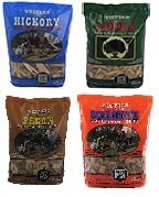 Western BBQ Smoking Wood Chips Variety Pack Bundle (4) Apple, Hickory, Mesquite and Pecan Flavors by Western
