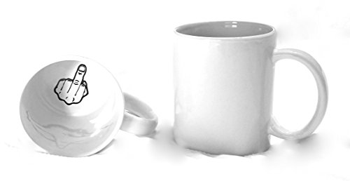 Funny Guy Mugs Middle Finger Inside Ceramic Coffee Mug, White, 11-Ounce ()