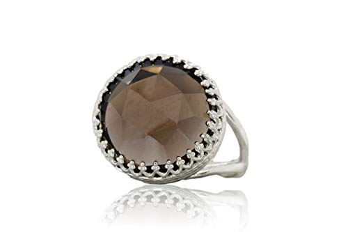 Anemone Jewelry Brown Gemstone Bold Statement Ring - 16x16mm Round Smoky Quartz Ring in 925 Sterling Silver - Band Metal Type of Your Choice - Handmade with Free Gift Box (Box Silver Smoky Jewelry Quartz)