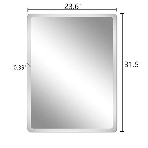 Beauty4U Frameless Rectangle Mirrors – 23.6 x 31.5inch Beveled Wall Mirror HD Vanity Make Up Mirror for Wall D cor