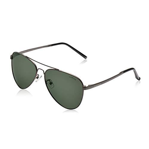 LUENX Men Women Aviator Sunglasses Polarized Non-Mirror Grey Green Lens Gun Metal Frame with Accessories UV 400 Protection 60MM