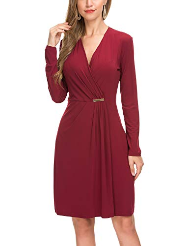 Derminpro Form Fitting Dresses for Women, Classy Super Comfy High Stretchy Work Knee Length Homecoming Dress Wine Medium from Derminpro