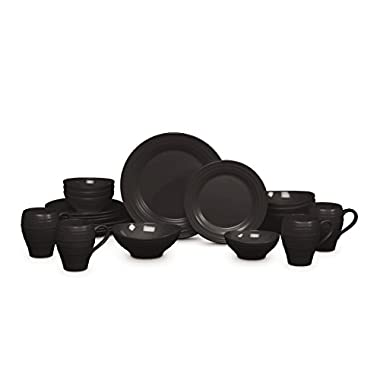 Mikasa Swirl Black 20 Piece Dinnerware Set, Service for 4