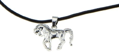 (Arabian Horse Silver Pendant Necklace [Prancing Showhorse] for Girls, Teens & Cowgirls - Great Gift for Christmas / Birthday)