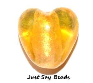 *HUGE SALE!* 10pcs x Murano Silver Foil Glass Heart Beads 12mm ~ YELLOW (Ref:5C37) Just Say Beads