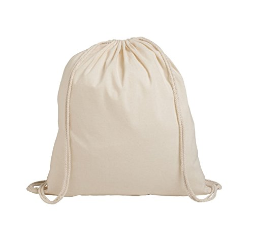 Pack of 1/3/5/10/25/50/100 Plain Natural Cotton Sport Drawstring Backpack, School Bags Rucksacks Drawstring School Gym Yoga,Eco Friendly Bag by Georgiabags (100) by Georgiabags