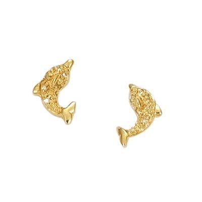 So Chic Bijoux © Boucles d'oreilles Dauphin Oxyde de Zirconium Plaqué Or 750
