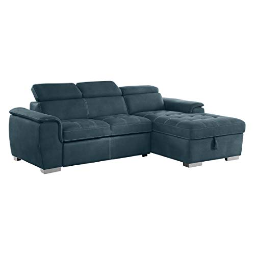 "Homelegance Ferriday 98"" x 66"" Sectional Sleeper with Storage, Blue from Homelegance"