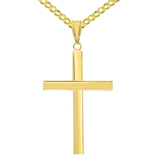 (14k Yellow Gold Polished Simple Religious Cross Pendant with Cuban Chain Necklace, 22