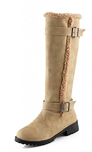 Aisun Womens Comfy Warm Belt Buckle Flat Knee High Snow Boots Beige dKBeMvRH