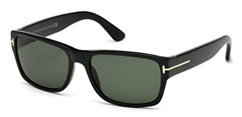 TOM FORD Men's Mason TF445 01N Shiny Black Green Rectangular Sunglasses - Ford Male Tom