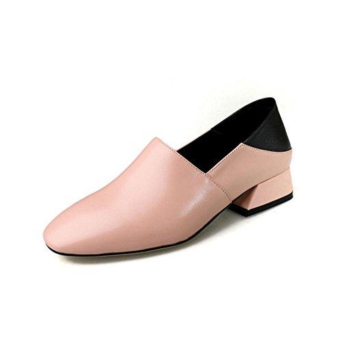 Lavoro mano fatto a Donna Pink Pelle Pigro Ruvido passeggio Scivolare su Nero A Casuale Chunky Tacco Comfort singolo Scarpe Basso qUnxaRZq