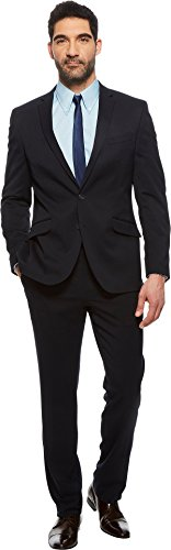 Kenneth Cole Unlisted Men's 2 Button Slim Fit Suit With Hemmed Pant, Navy, 40 Regular by Unlisted by Kenneth Cole