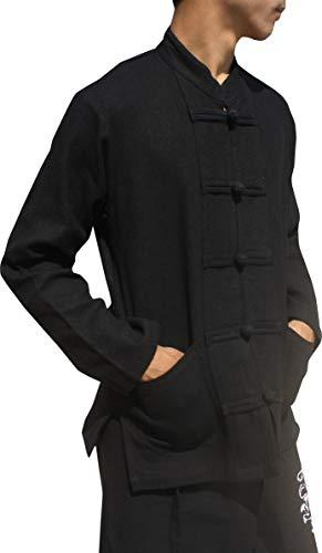 Raan Pah Muang Quality Hemp Cotton Blend Shirt China Collar Long Sleeve Frog Button, Large, Base Hemp - Black