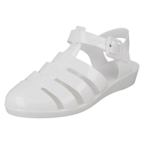 Ladies Spot On Wedge Jelly Shoes F10320 White HDBarUWD