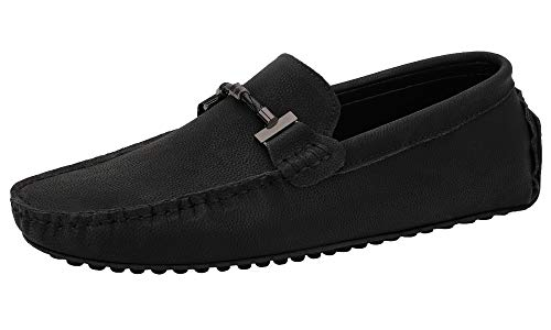 JIONS Mens Loafers & Slip-Ons Suede Driving Moccasins Flat Low Top Dress Shoes B- Black-44/10 M US