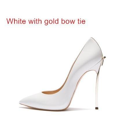 Zapatos Sandalias De Cm 10 Boda Tacón Zapatos Alto with Zapatos De Alta Delgada Fiesta Las Calidad white gold De Bowtie Cm 12 8 Mujeres VIVIOO Tacones Altos Cm De 1PZAP