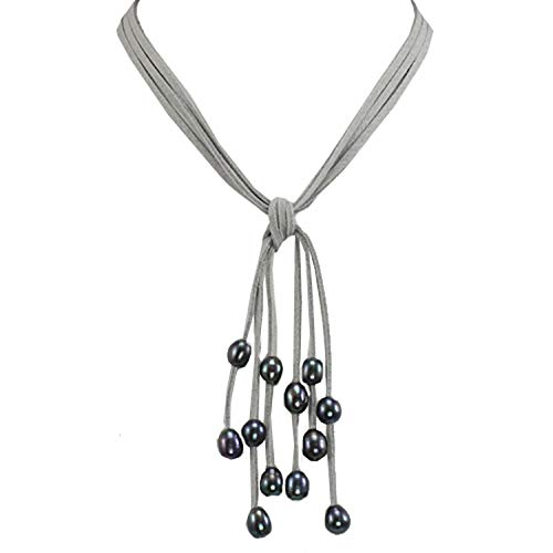 Dahlia Gray Triple Strand Cascade Dyed Black Cultured Pearl Suede Necklace (8-10mm), 16