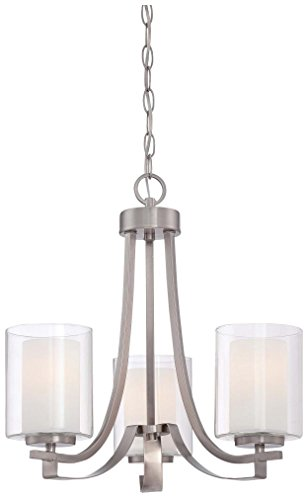 Minka Lavery Minka 4103-84 Transitional Three Light Mini Chandelier from Parsons Studio Collection in Pwt, Nckl, B/S, Slvr.Finish, 18.00 inches 3, Upc-747396802299 (Collection 3 Bulbs)
