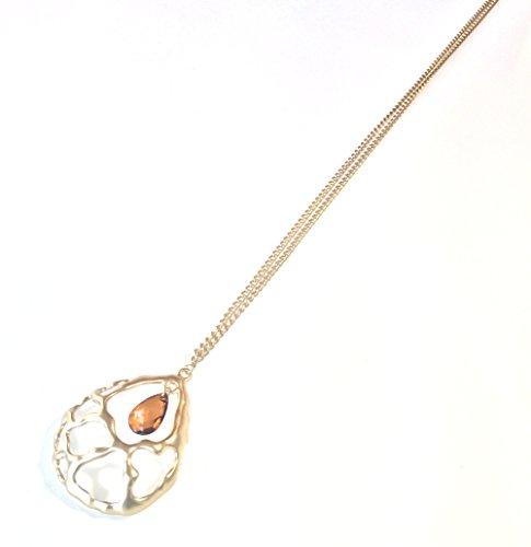 Teardrop Coral Pendant Necklace (Coral Topaz Necklace)
